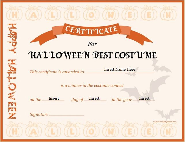 Costume Contest Certificate Template Awesome Halloween Best Costume Certificate Templates