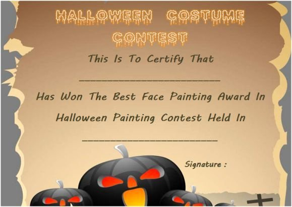 Costume Contest Certificate Template Beautiful 21 Best Halloween Costume Certificate Templates Images On