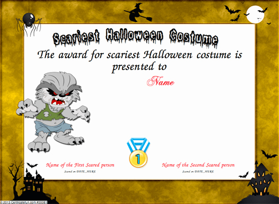 Costume Contest Certificate Template Beautiful Scariest Halloween Costume