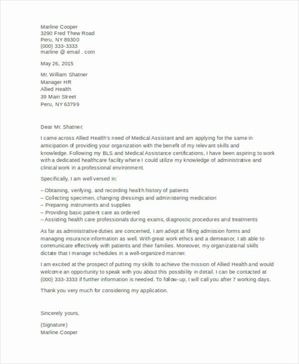 Cover Letter for Medical assistant Student Elegant 45 Cover Letter Templates