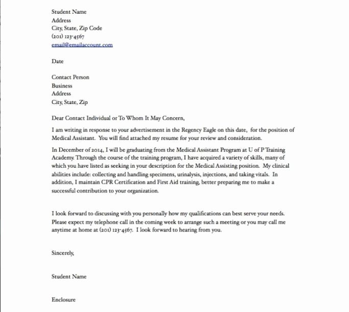 Cover Letter for Medical assistant Student Fresh A Cover Letter for A Medical assistant