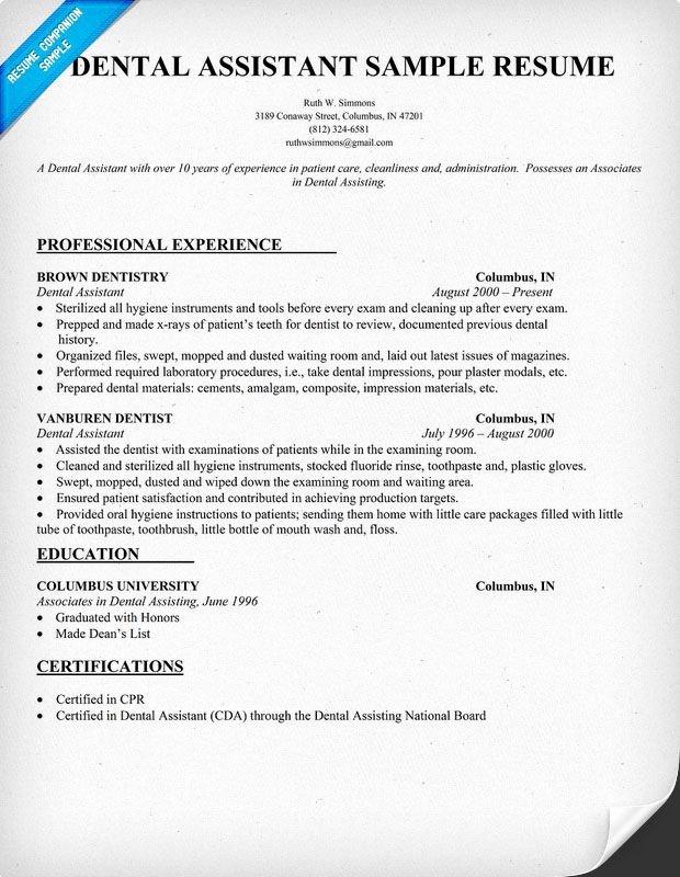 Cover Letter for Medical assistant Student Unique Dental assistant Resume Dentist Health Resume Panion
