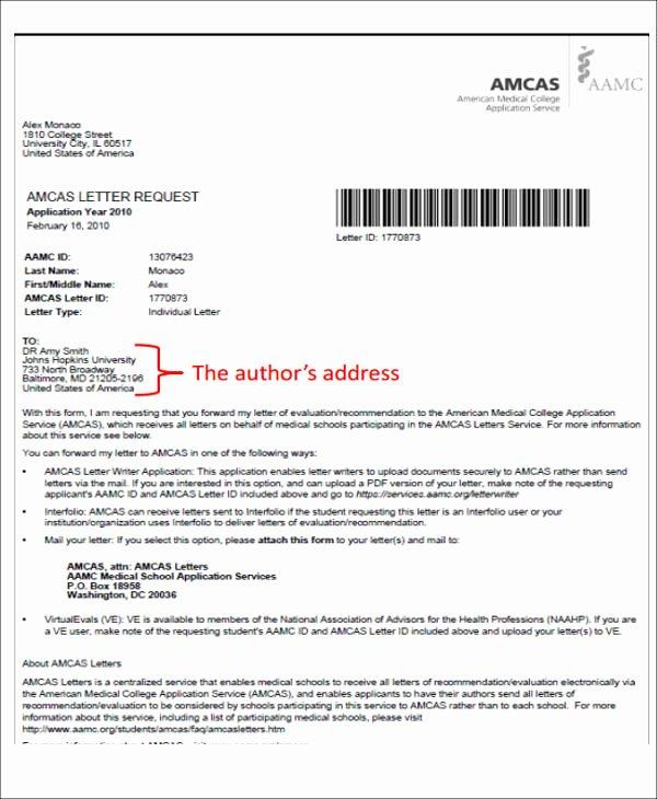 Cover Letter for Medical School Unique 8 Medical School Re Mendation Letter Free Sample