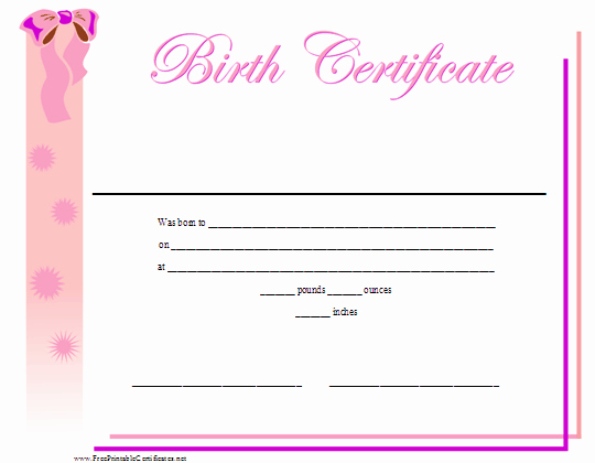 Create Birth Certificate Template Elegant A Printable Birth Certificate for A Baby Girl Featuring A