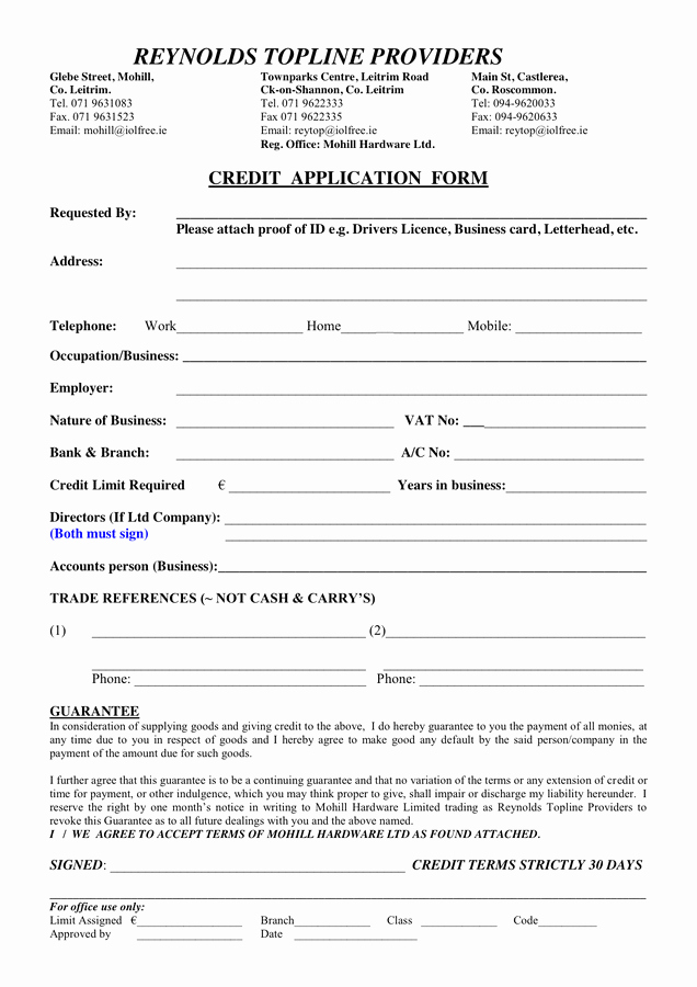 Credit Application form Fresh Credit Application form In Word and Pdf formats