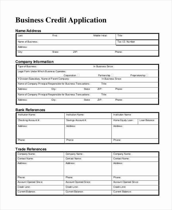 Credit Application form Fresh Free 11 Sample Credit Application forms In Sample