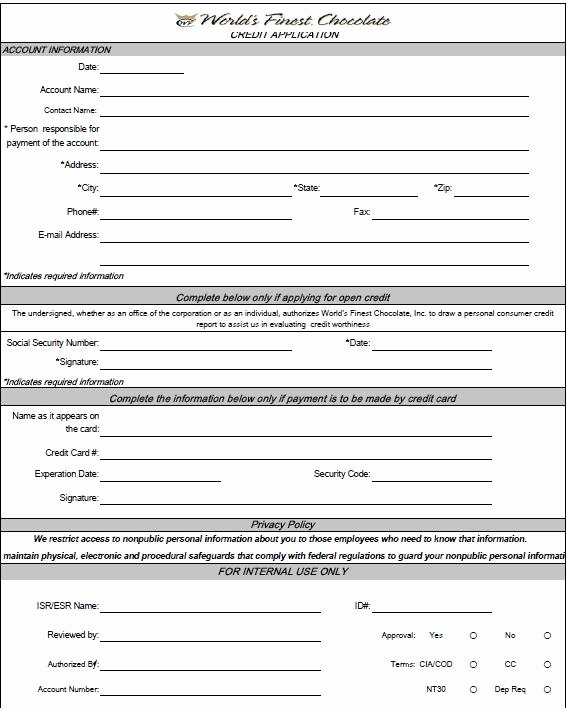 Credit Application form Luxury Free Printable Credit Application form form Generic