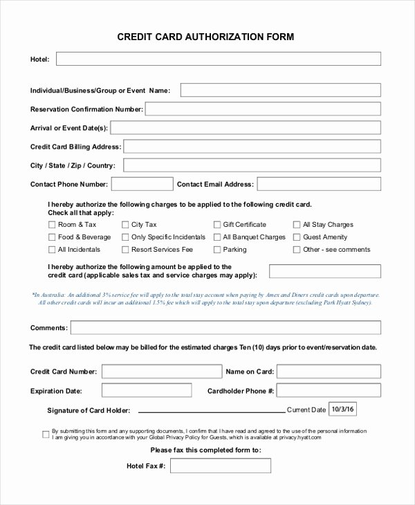 Credit Card Auth form Elegant Free 12 Sample Credit Card Authorization forms In Pdf