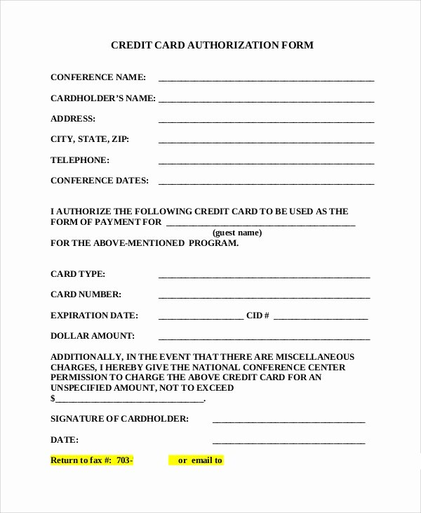 Credit Card Auth form Fresh Credit Card Authorization form Sample 8 Examples In