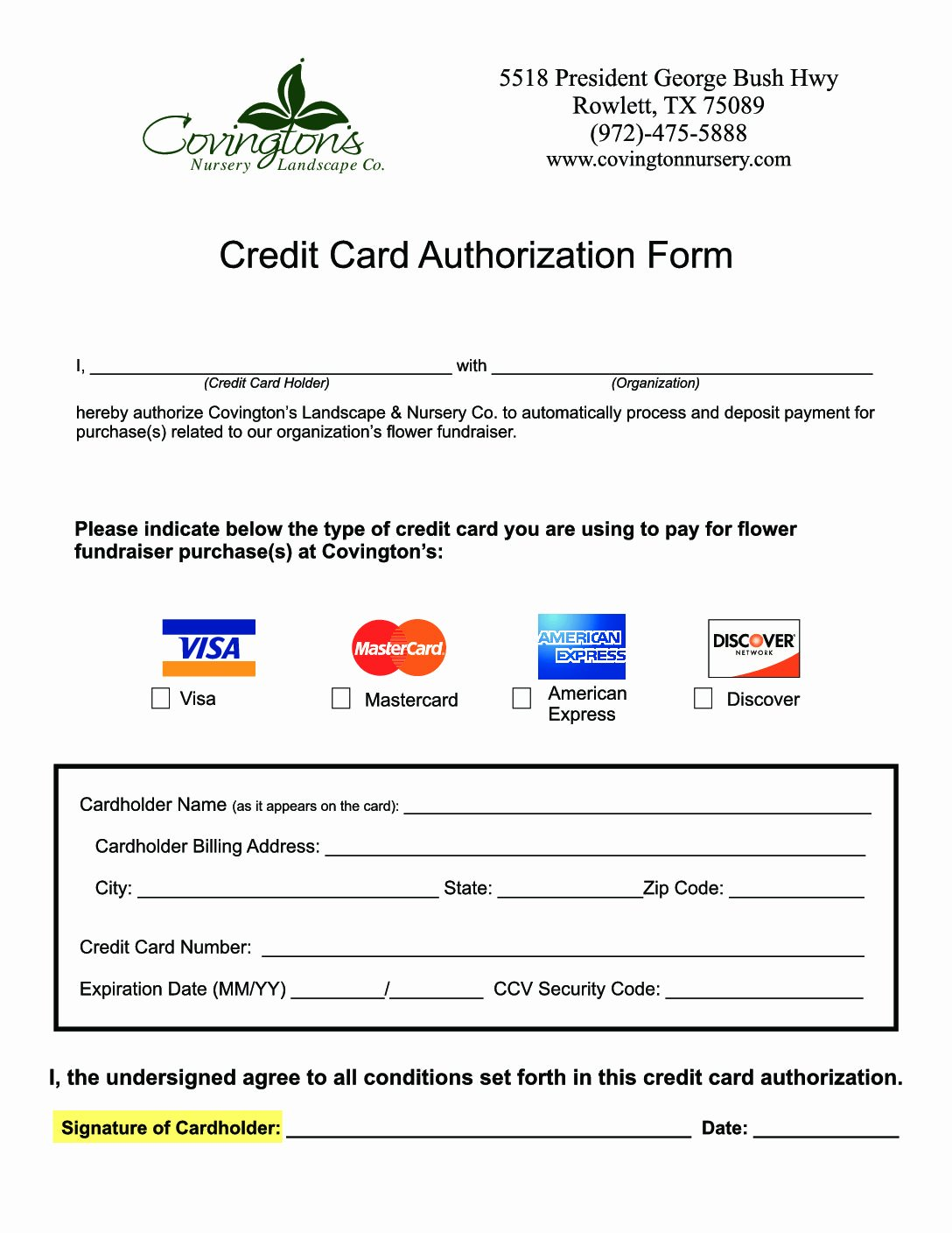 Credit Card Auth form Inspirational Fundraiser Credit Card Authorization form Covingtons