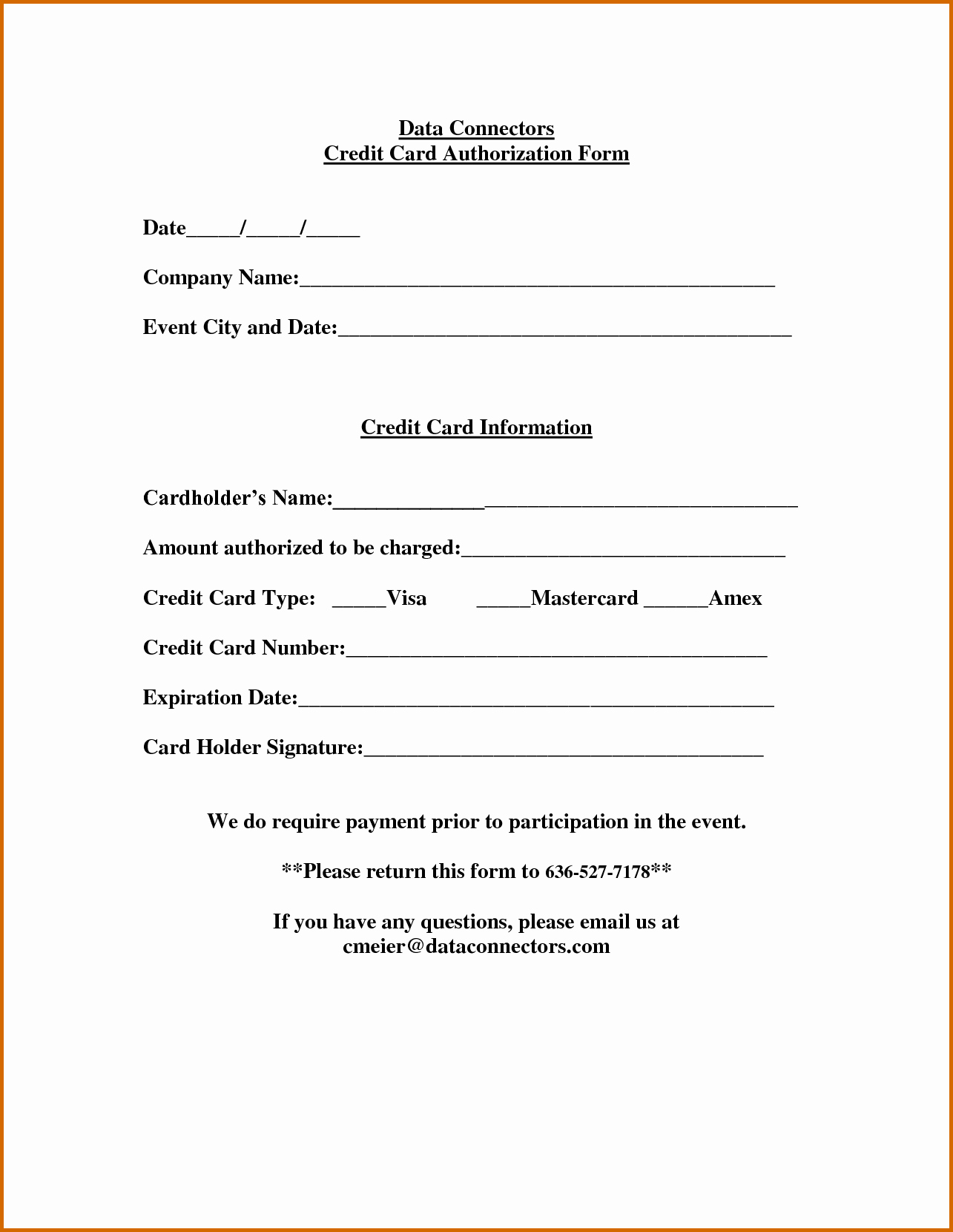 Credit Card Auth form Lovely Credit Card Authorization form Fotolip