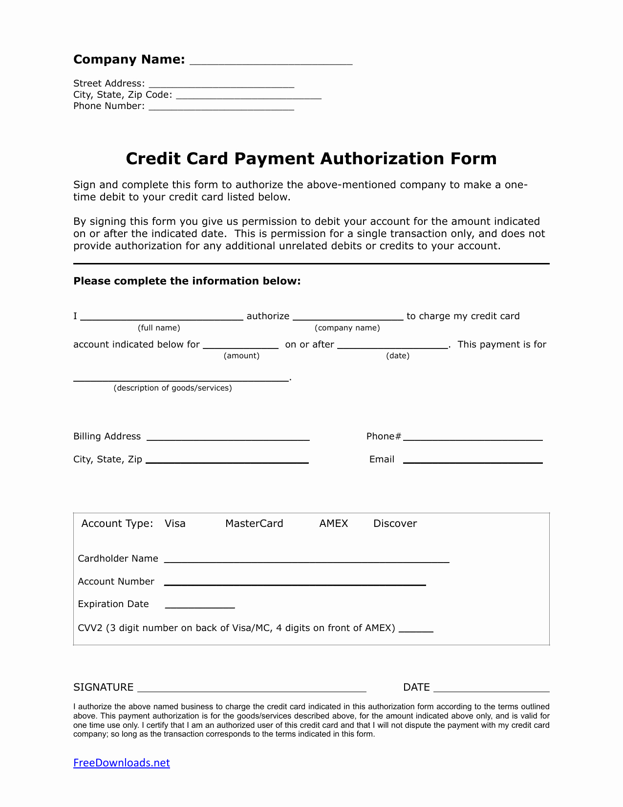Credit Card Auth form Lovely Download E 1 Time Credit Card Authorization Payment