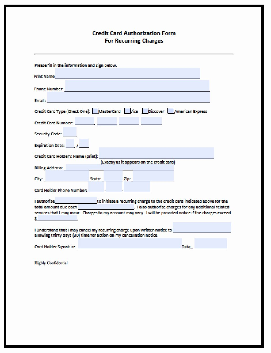 Credit Card Auth form New Download Recurring Credit Card Authorization form Pdf