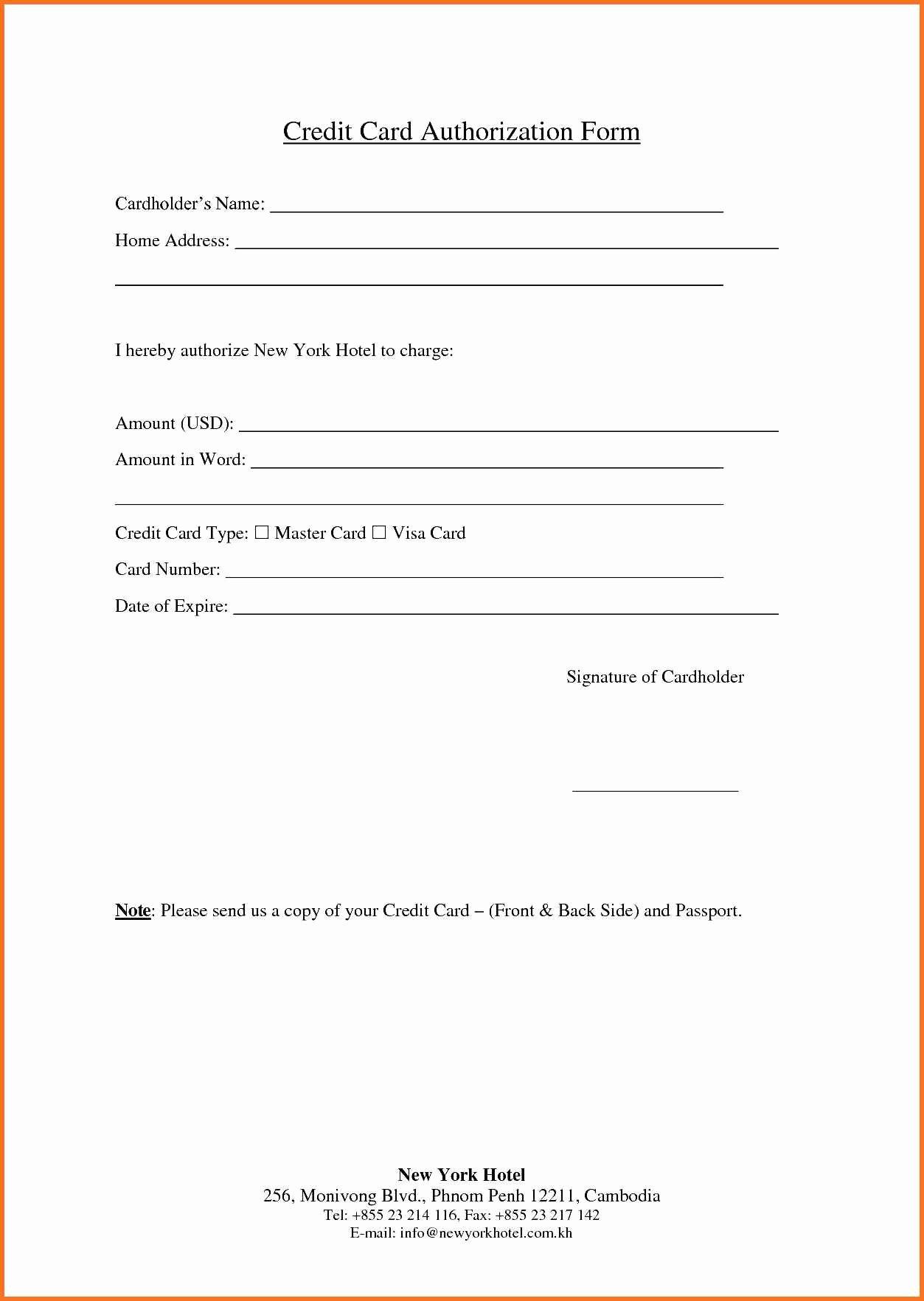 Credit Card Auth form Unique Credit Card Authorization form Fotolip