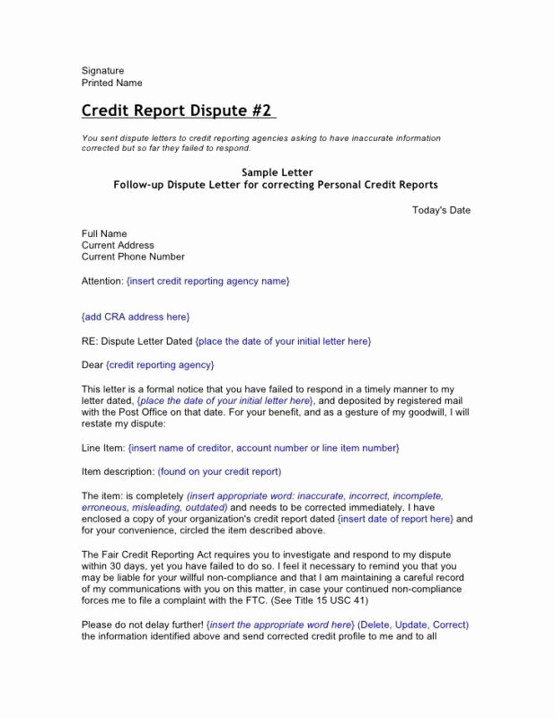 Credit Card Dispute Letter Template Beautiful Credit Dispute Letter Template