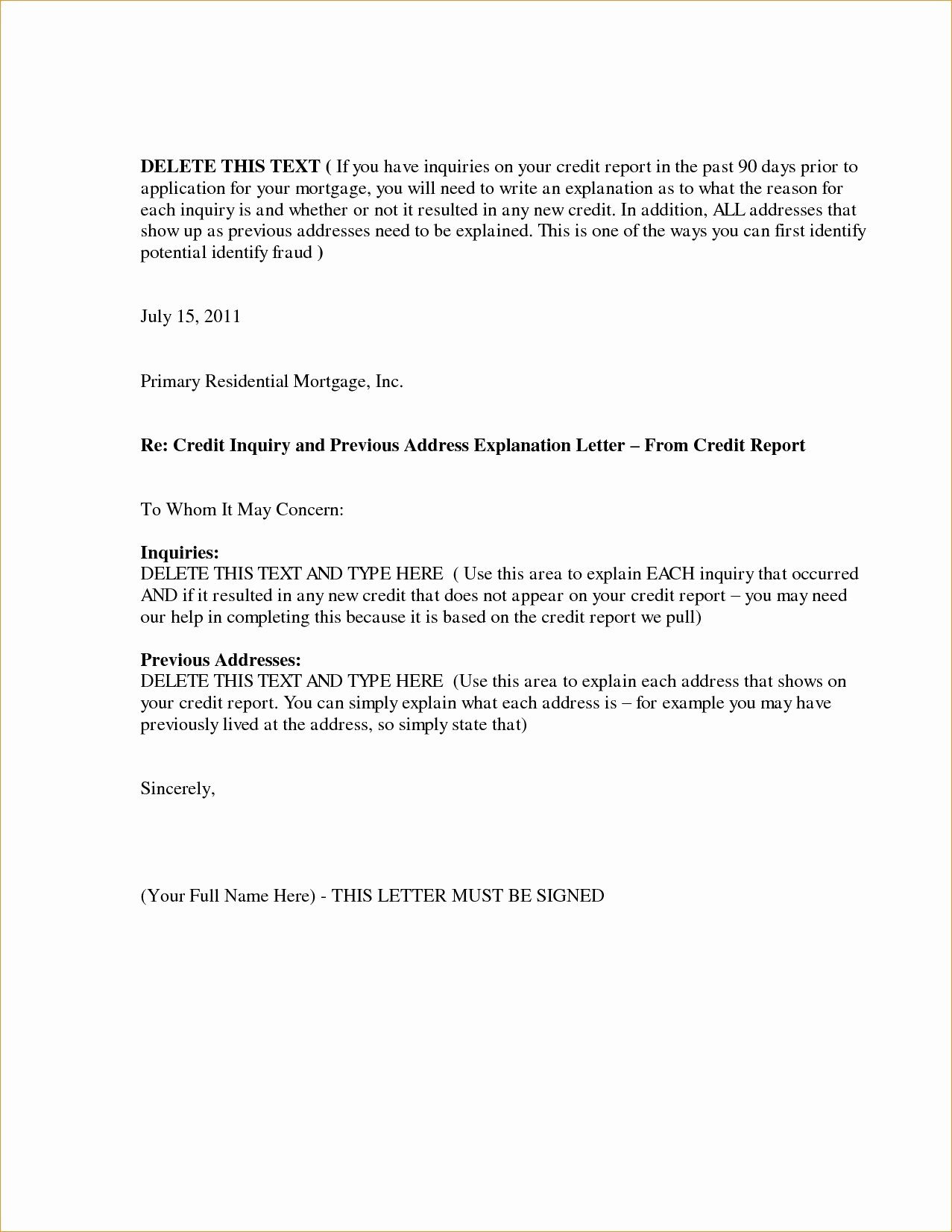 Credit Explanation Letter Template Beautiful Letter Explanation for Credit Inquiries Template Examples