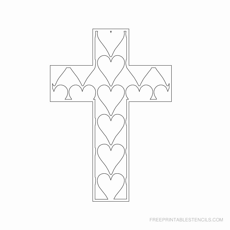 Cross Template Printable Free Beautiful Printable Cross Stencils and Hearts
