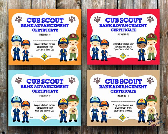 Cub Scout Award Certificate Template Awesome Cub Scout Rank Advancement Certificate Pack 8 5x11 Jpg