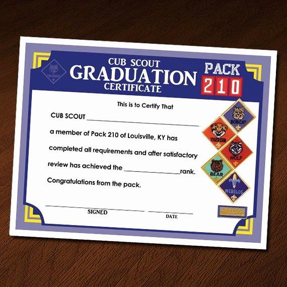 Cub Scout Award Certificate Template Awesome Custom Cub Scout Blue & Gold or Graduation Invitation