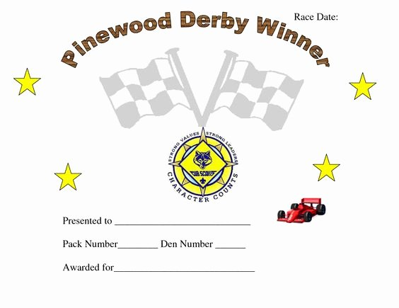 Cub Scout Award Certificate Template Awesome Printable Pinewood Derby Awards