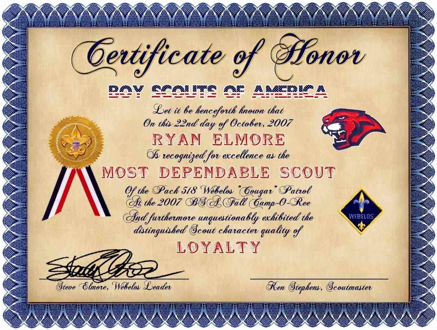 Cub Scout Award Certificate Template Best Of Certificate Appreciation Template Boy Scouts
