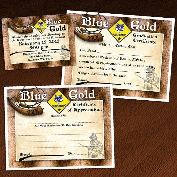 Cub Scout Award Certificate Template Fresh Custom Cub Scout Blue & Gold or Graduation Invitation