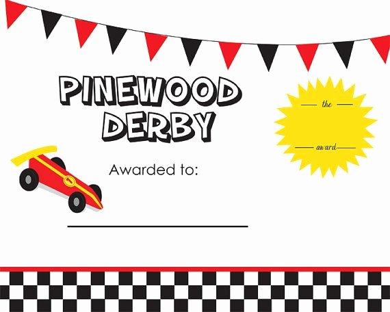 Cub Scout Award Certificate Template Inspirational Cub Scout Pinewood Derby Award Certificate 8x10inch