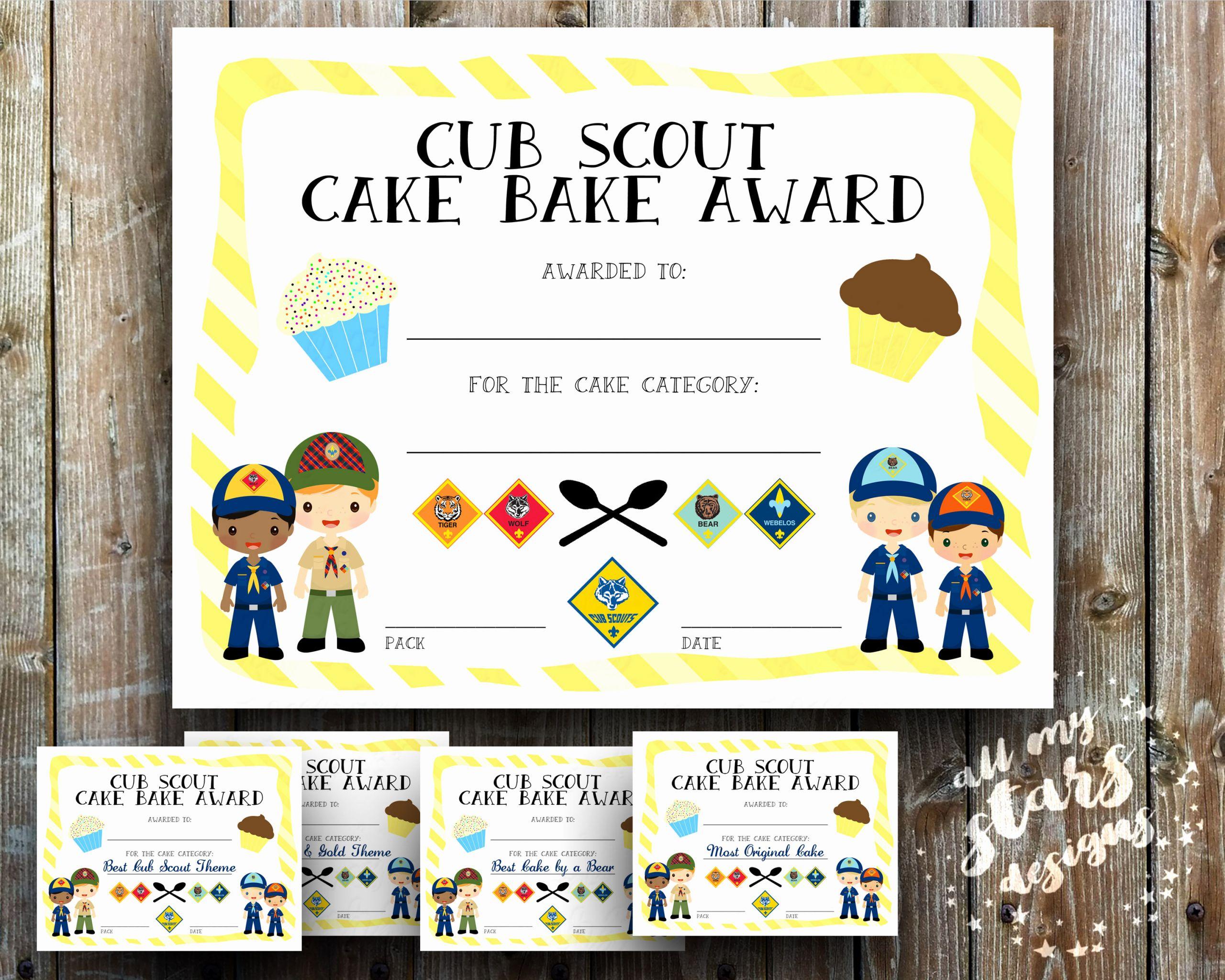 Cub Scout Award Certificate Template Unique Cub Scout Cake Bake Award Certificate Pack 8 5x11 Jpg