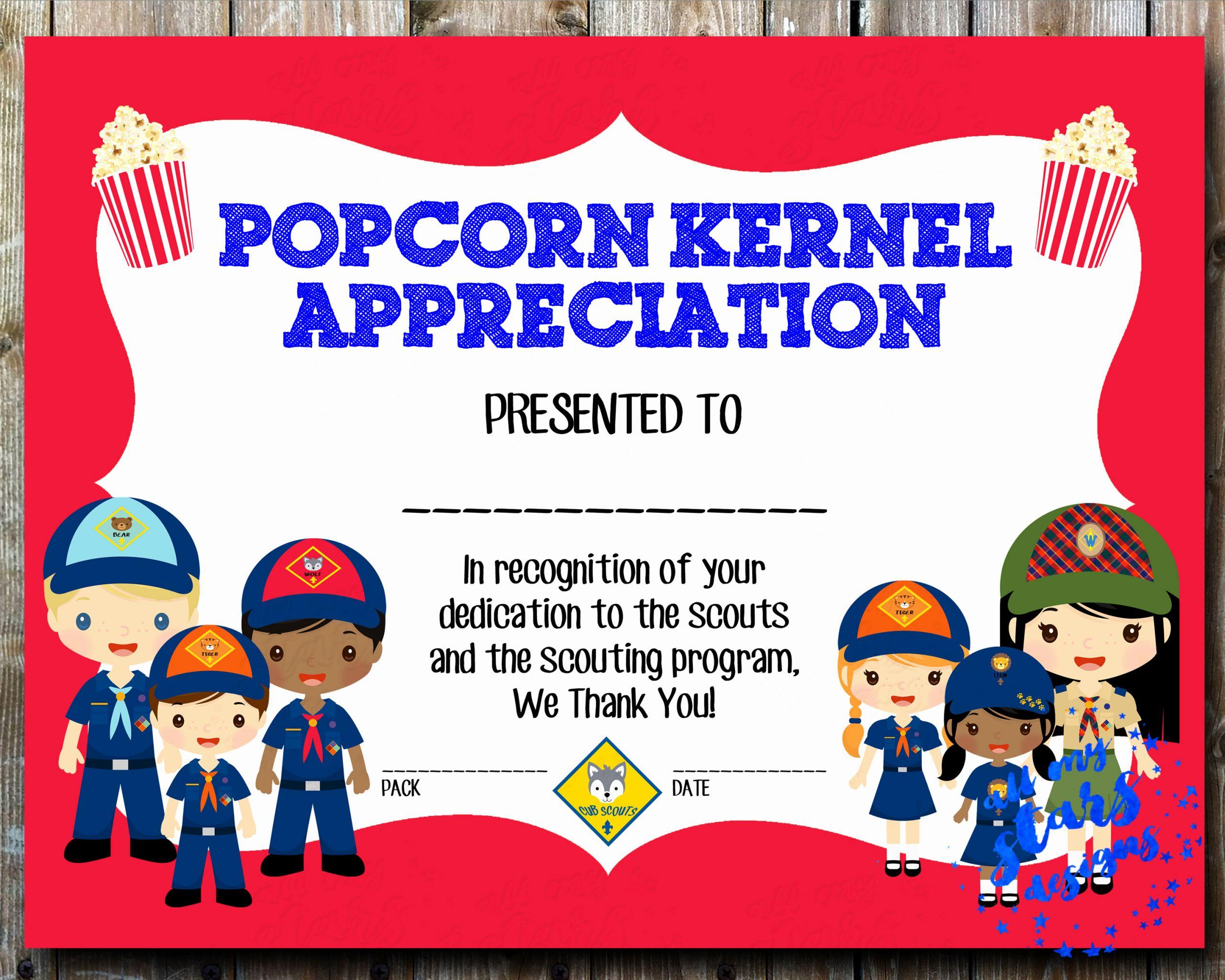 Cub Scout Certificate Of Appreciation Template Awesome Cub Scout Popcorn Kernel Appreciation Award