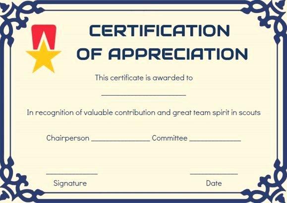 Cub Scout Certificate Of Appreciation Template Elegant Scout Certificate Appreciation Template