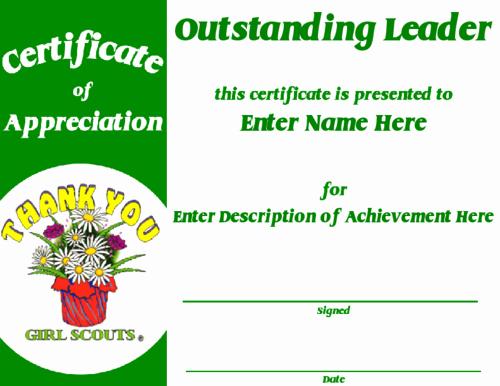 Cub Scout Certificate Of Appreciation Template Fresh Girl Scout Award Certificate Template