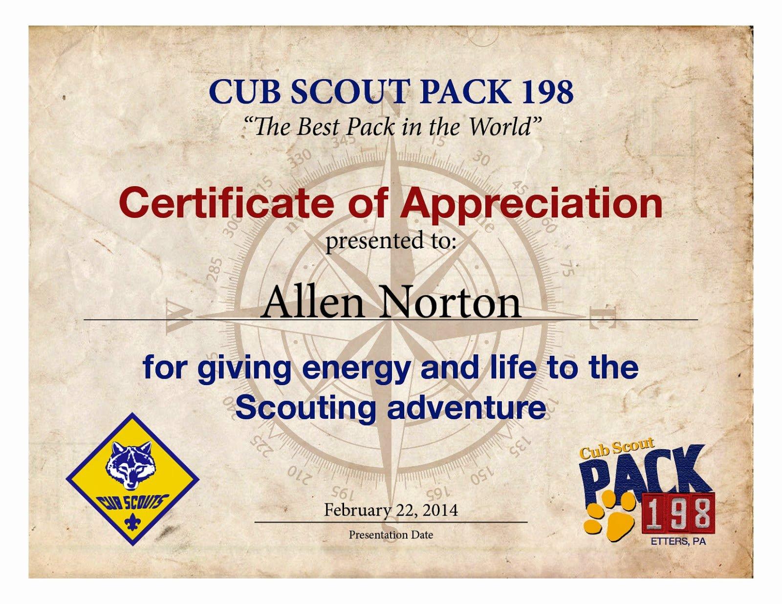 Cub Scout Certificate Of Appreciation Template Inspirational Bryson Design Studio July 2014