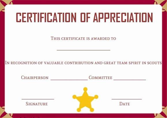 Cub Scout Certificate Of Appreciation Template Luxury Boy Scout Certificate Template