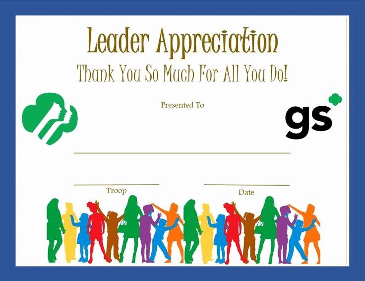 Cub Scout Certificate Of Appreciation Template Luxury Leader Appreciation Certificate Girl Scouts
