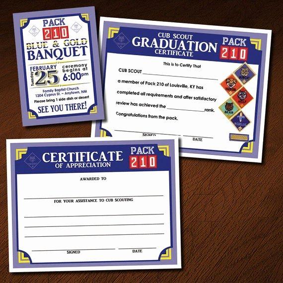 Cub Scout Certificate Of Appreciation Template New Custom Cub Scout Blue & Gold or Graduation Invitation