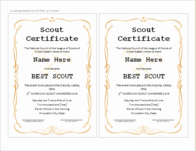Cub Scout Certificate Template Inspirational Best Scout Certificate Template for Ms Word