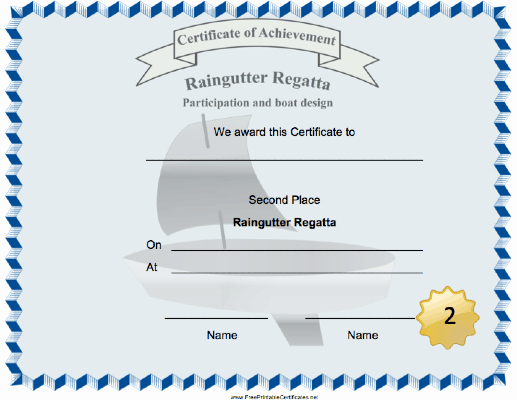 Cub Scout Certificate Template Luxury A Sailboat Decorates This Raingutter Regatta Second Place