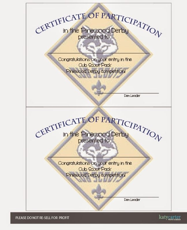 Cub Scout Certificate Template New Cub Scout Printable Certificate Of Participation for
