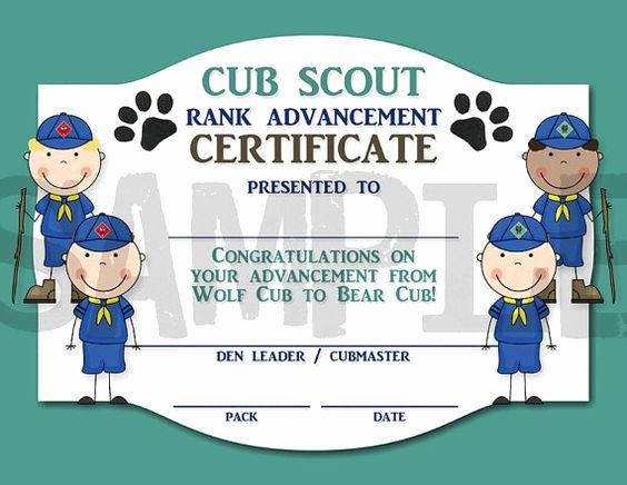 Cub Scout Certificate Template New Rank Advancement Certificate Wolf Cub to by