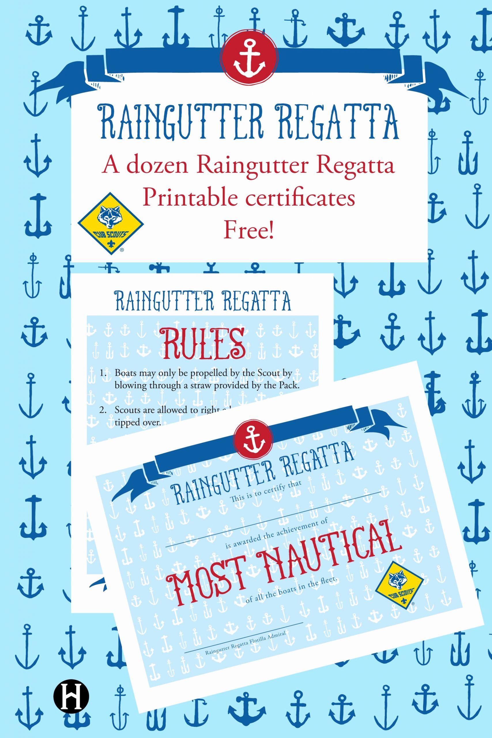 Cub Scout Graduation Certificate Template Beautiful Printable Cub Scout Raingutter Regatta Certificates