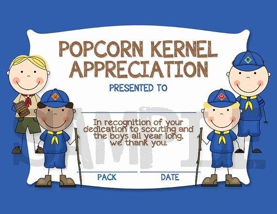 Cub Scout Graduation Certificate Template Best Of Popcorn Kernel Appreciation Certificate Idea