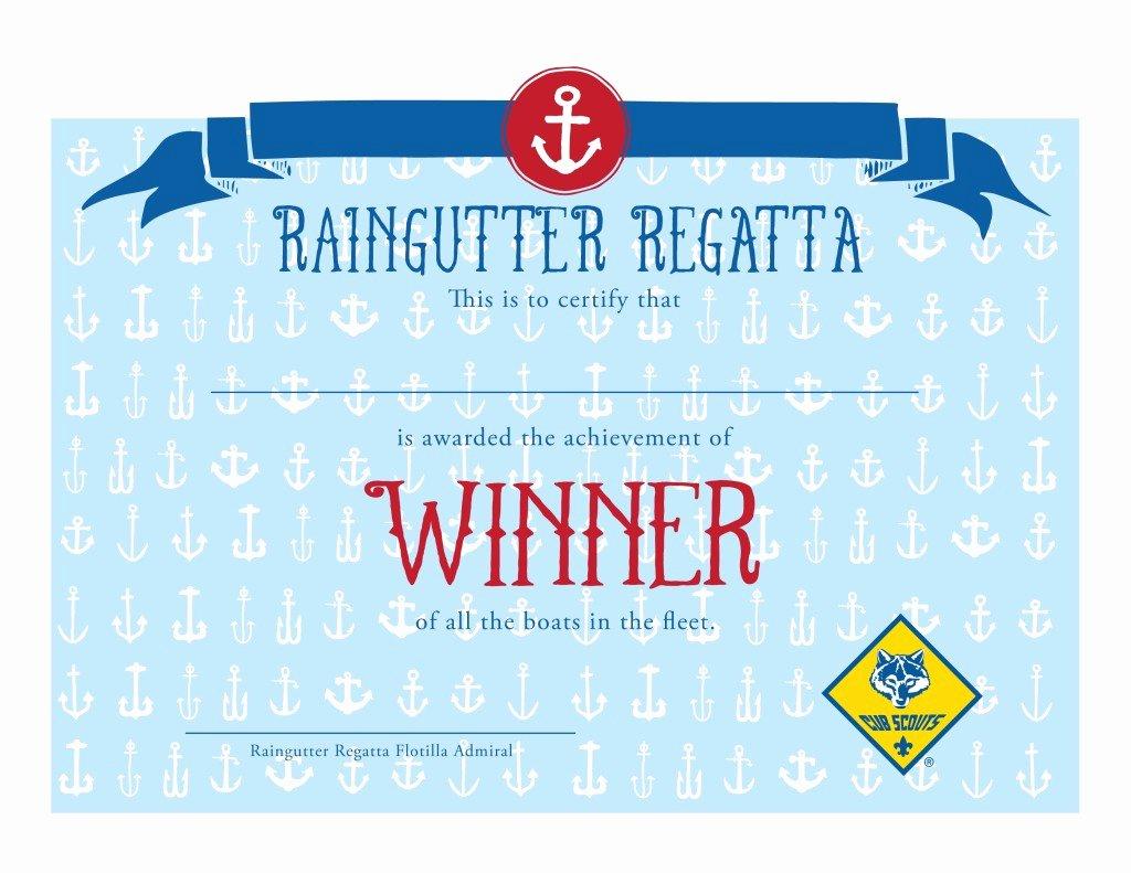 printable cub scout raingutter regatta certificates