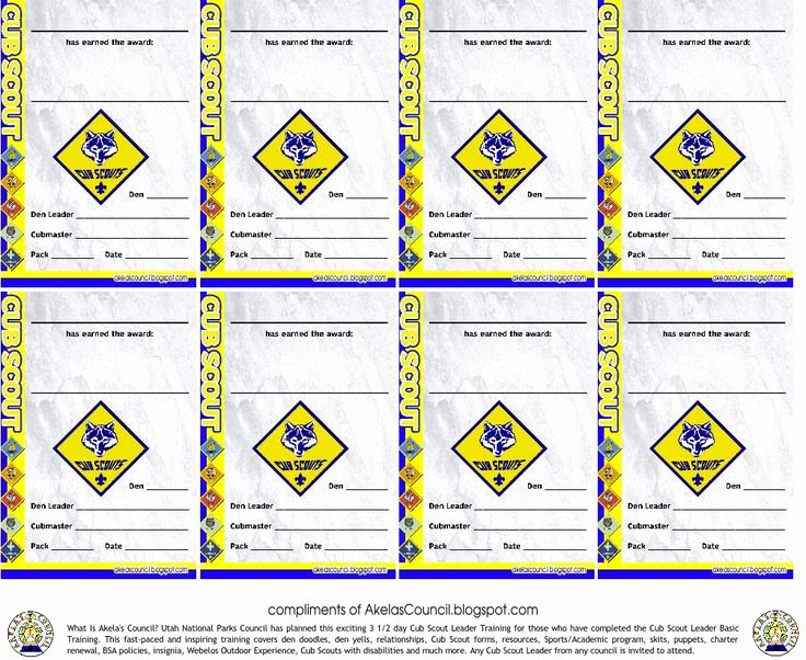 Cub Scout Pocket Certificate Template Beautiful Akela S Council Cub Scout Leader Training Cub Scout Award