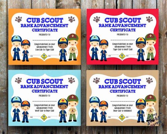 Cub Scout Pocket Certificate Template Unique Cub Scout Rank Advancement Certificate Pack 8 5x11 Jpg