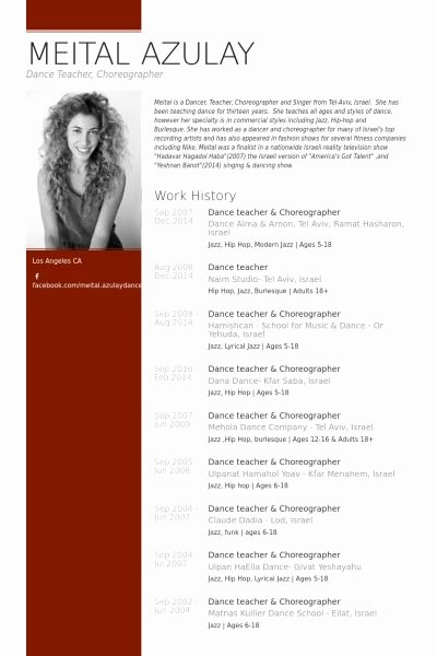 Dance Resume Template Microsoft Word Awesome Dance Teacher & Choreographer Resume Example