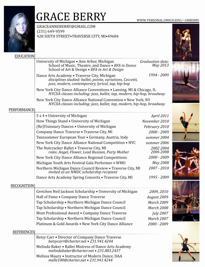 Dance Resume Template Microsoft Word Awesome Resume Grace Berry