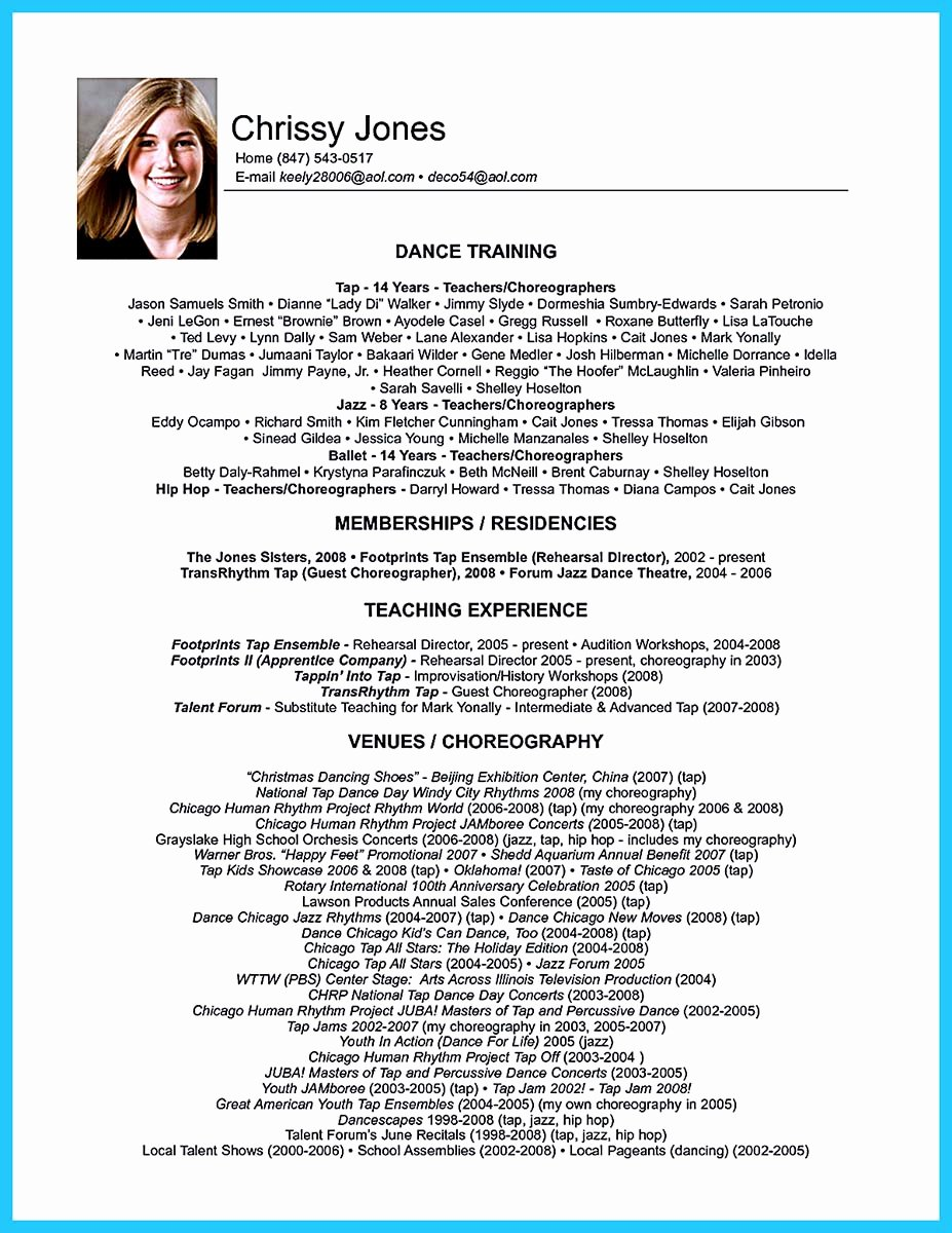 Dance Resume Template Microsoft Word Awesome the Best and Impressive Dance Resume Examples Collections