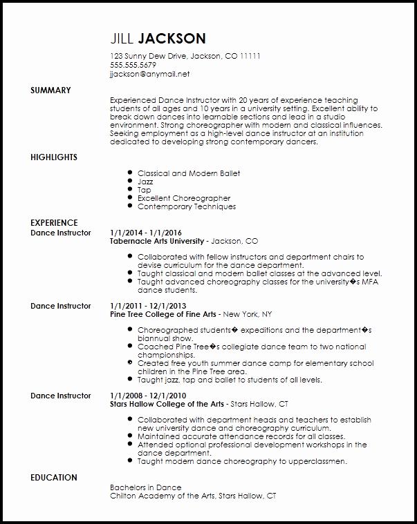 Dance Resume Template Microsoft Word Beautiful Dance Resume Template