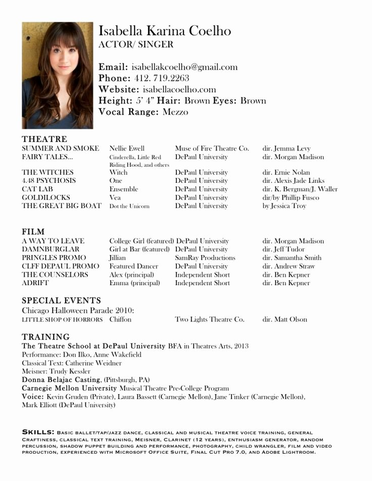 Dance Resume Template Microsoft Word Inspirational Acting Resume Image Romeo Actor Life