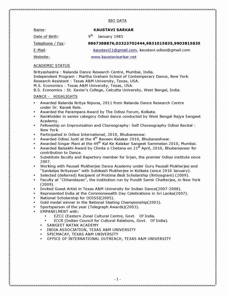 Dance Resume Template Microsoft Word Lovely Bharatanatyam Dancer Resume Pdf format